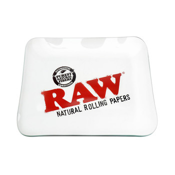 "Raw Glass Rolling Tray. 12.5"" x 10.5"" size."
