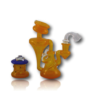 """The 7"""" Tall Tangie Recycler! An Erik Anders piece featuring a Joel Halen Trough style banger and 'Blue Cheese' Q-Dish!!"""