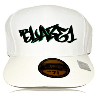 BLAZE1 7 1/2 PRO-FIT WHITE W/ BLACK & GREEN CAP