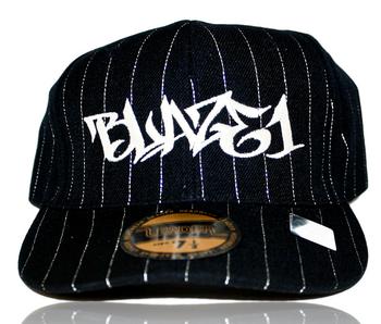 BLAZE1 8 PRO-FIT BLACK PIN-STRIPE CAP