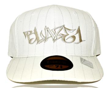 BLAZE1 7 3/8 PRO-FIT WHITE PIN-STRIPE CAP