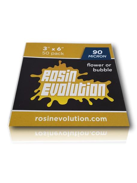 "Rosin Evolution - 90 Micron 3x6"" Rosin Bags. 50 Pack."
