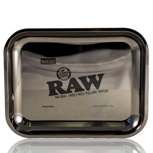 RAW LARGE BLACK GOLD ROLLING TRAY W/STAND AND JEWELLERY BAG