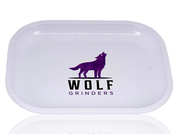 WOLF GRINDERS 17cm X 14cm ROLLING TRAY - WHITE