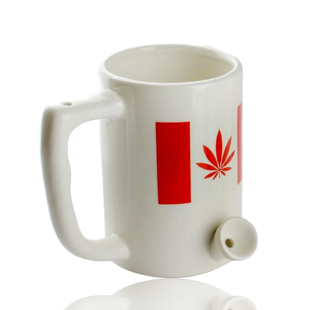 8OZ COFFEE MUG PIPE - CANADA/CANNABIS FLAG