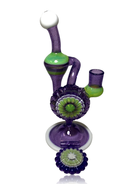 "10"" PAJAY GLASS DEEPCUT CARVED HANG-n-BANG RECYCLER w PENDANT"
