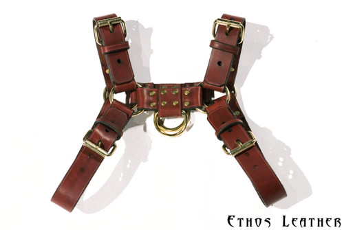 Brown Latigo Leather with Brass Hardware