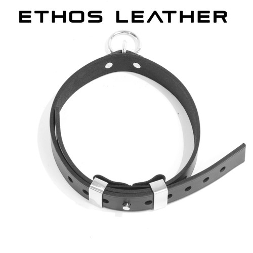 Elegant Locking Latigo Leather Collar