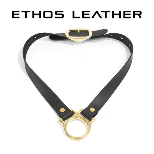 Simple Leather Collar, Solid Brass Hardware
