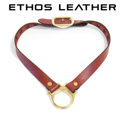 Simple Leather Collar, Solid Brass Hardware - Red