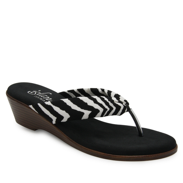 Fabric Thong Wedge Zebra