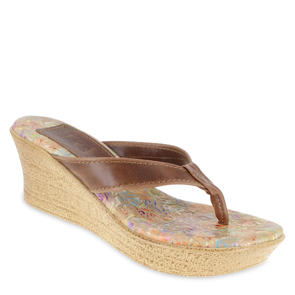 Leather Thong Platform Rainbow Embossed