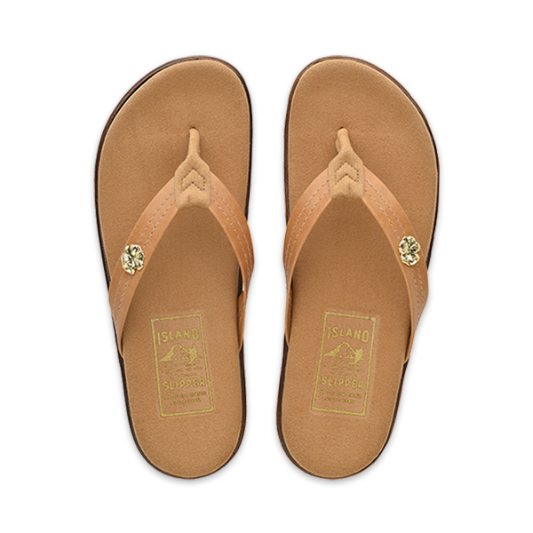Leather Thong Flat with Hibiscus