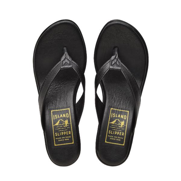 Leather Thong Platform Solid Black