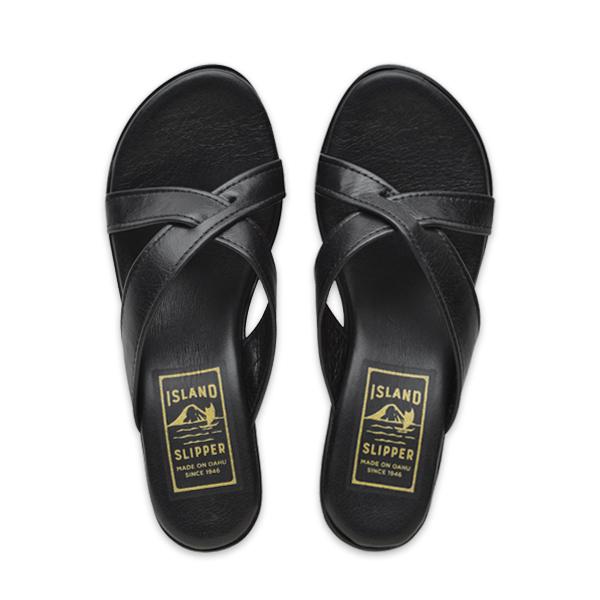 Leather Slide Platform Solid Black