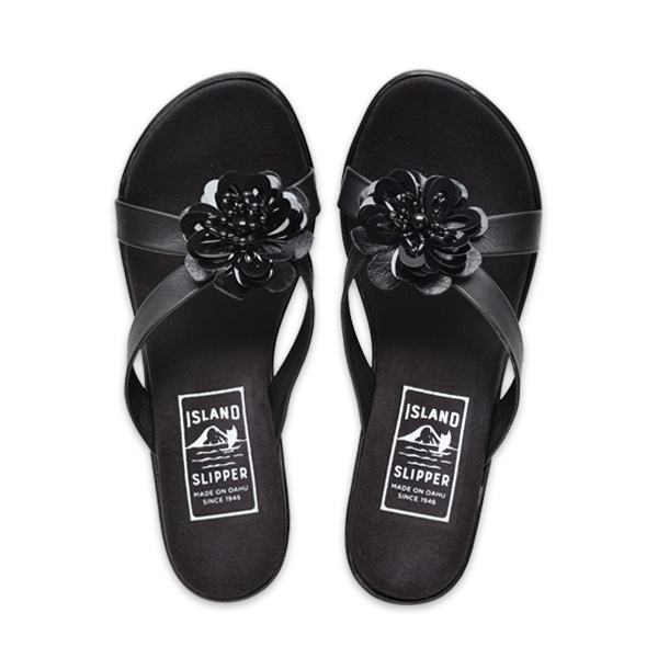 Beaded Flower Slide Platform Black