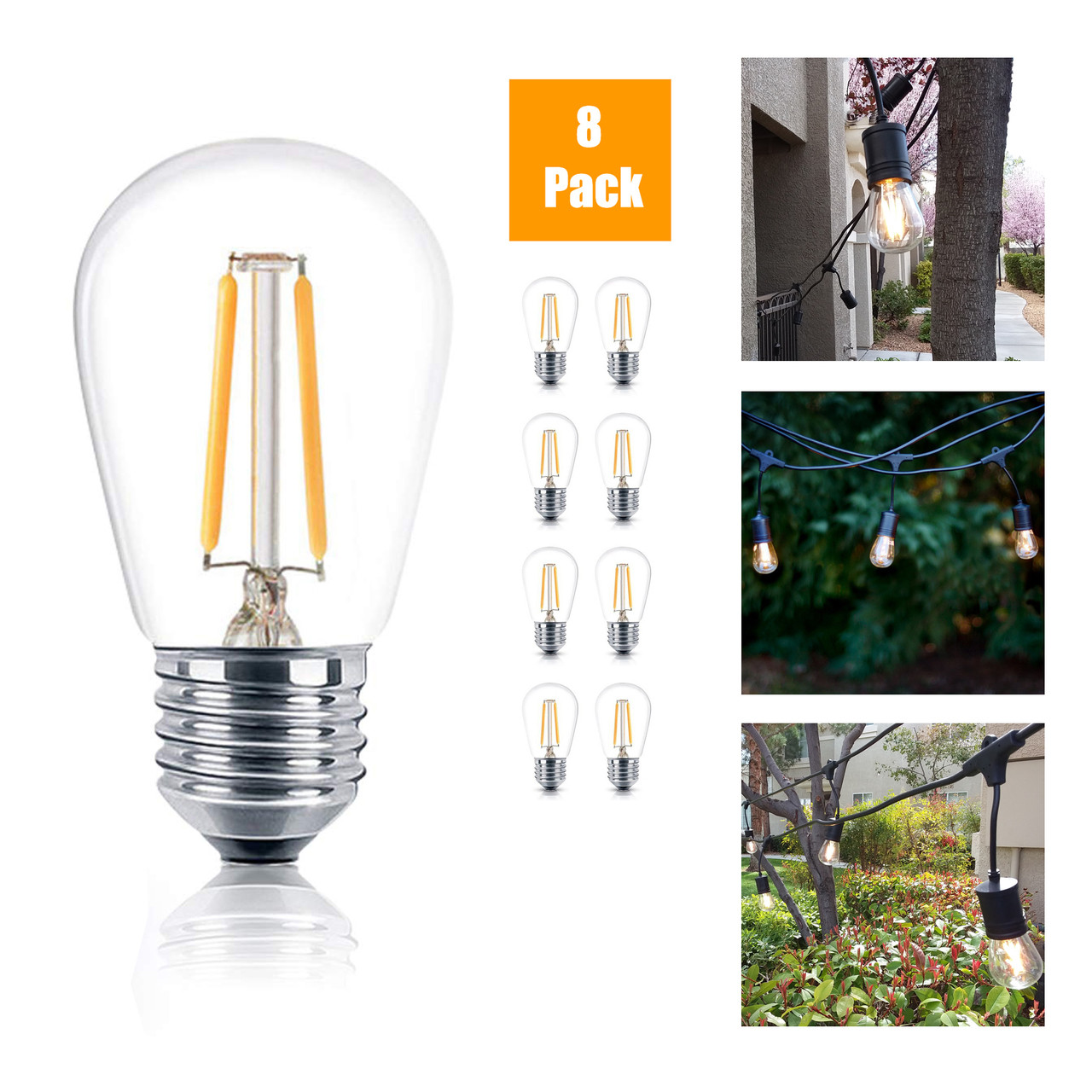 Reo Lite Weatherproof Led S14 100 Lumens 1 Watt 11w Incandescent Equal 2400 Kelvin Residential Warm 8 Pack