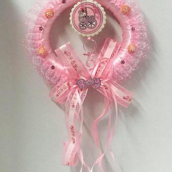 Pink Baby Shower Wreath