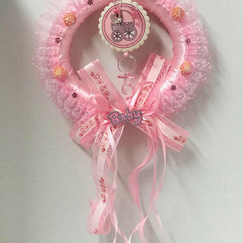 Pink Baby Shower Wreath