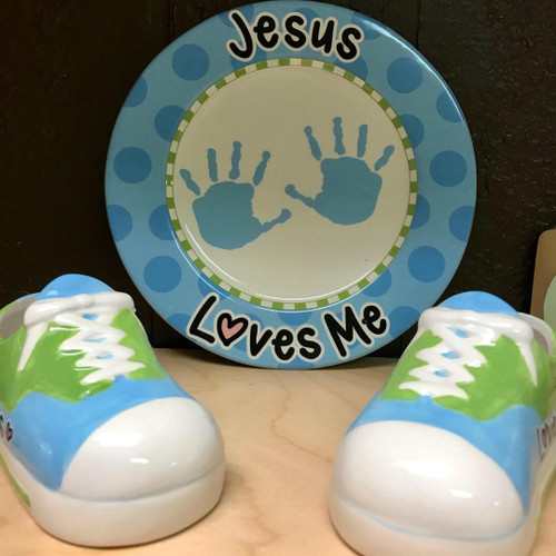 Ceramic Baby Shoes & Plate Set
