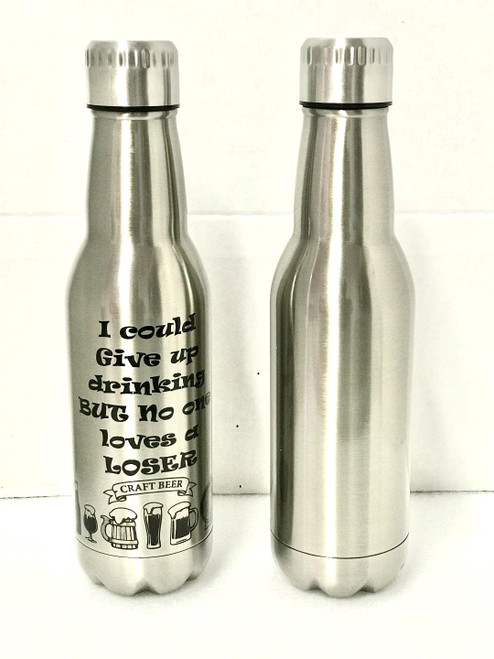 16 oz Personalized Stainless Steel Beer Bottle