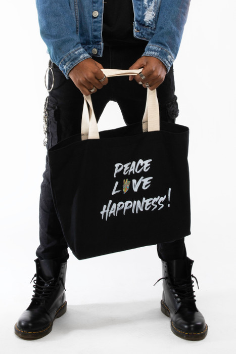Peace + Love tote bag