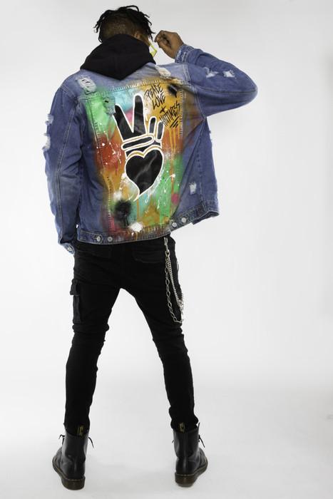 Peace + love drippy jacket