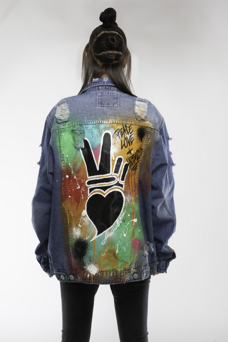 Peace + love drippy jacket