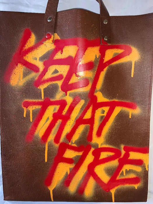"jeantrix x saija ""keep that fire"" tote"