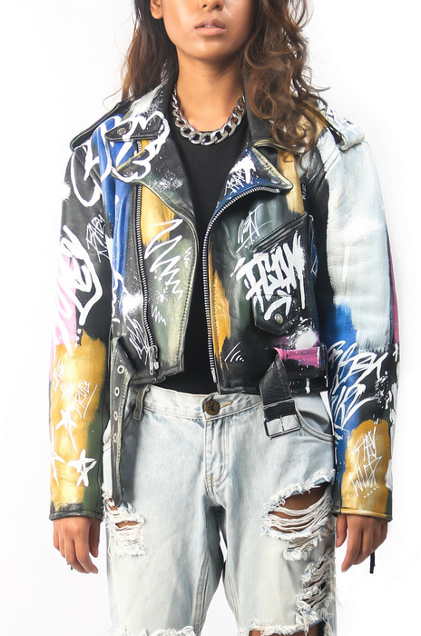 'BROOKLYN' CROPPED MOTO JACKET