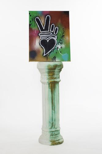 "Graffiti'd Peace + Love small canvas (14"" x 18"")"