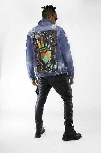 Zig zag peace + love denim jacket