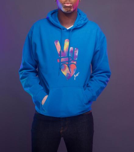 Peace + Love logo hoodie (Blue)