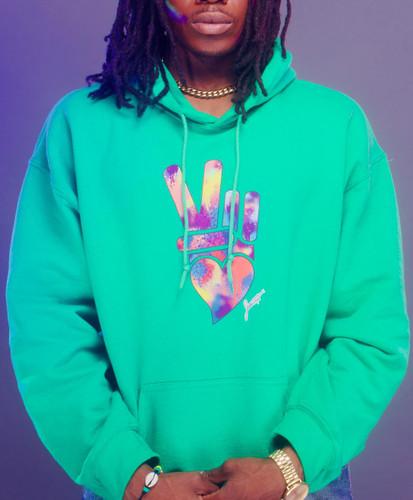 Peace + Love logo hoodie (green)