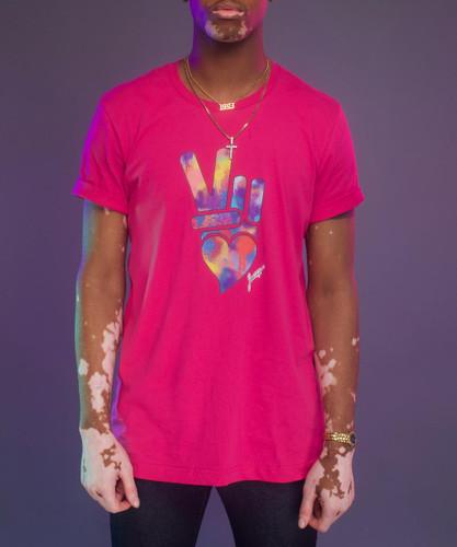 Peace + Love logo tee (hot pink)