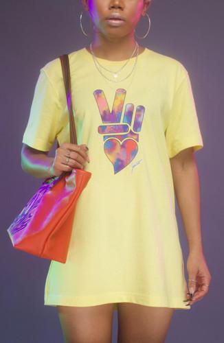 Peace + Love logo tee (yellow)
