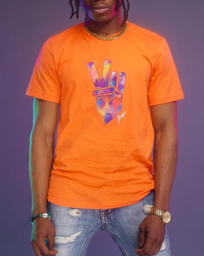 Peace + Love logo tee (orange)