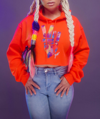 Peace + Love logo cropped hoodie (orange)