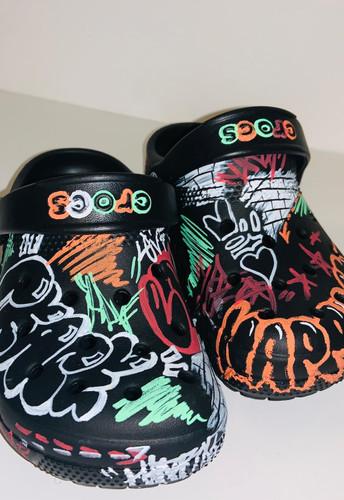 Black graffiti tagged Peace + Love Crocs (kid's)