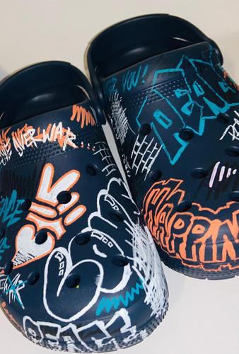 Navy graffiti tagged Peace + Love crocs (men's)