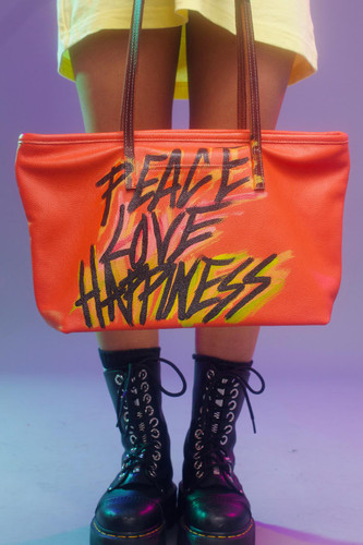 Jeantrix x Peace + Love glitter font graffiti bag