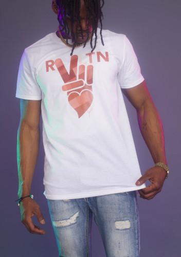 """peace + love white """"revolution"""" tee (men's)"""
