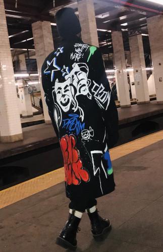 archive graffiti tagged wool overcoat (size XL)