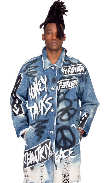 TAGGED DENIM TRENCH 1-OF-1