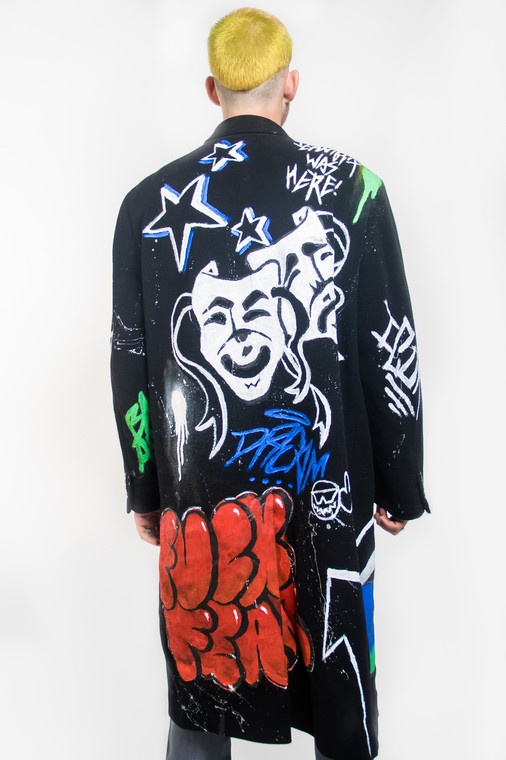 WOOL GRAFFITI OVERCOAT (SIZE XL)