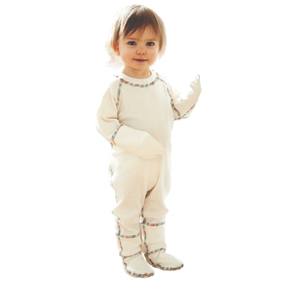 One piece footed pajama for kids with closed mittens and footed bottoms.