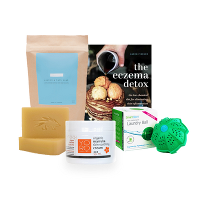Our eczema skincare kit includes our best selling items giving you the power to try them all to see what works best for you! Try our eczema kit and find soothing relief for your eczema.