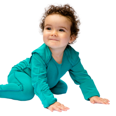 Baby sleepsuit with scratch mitts that fold open and closed.
