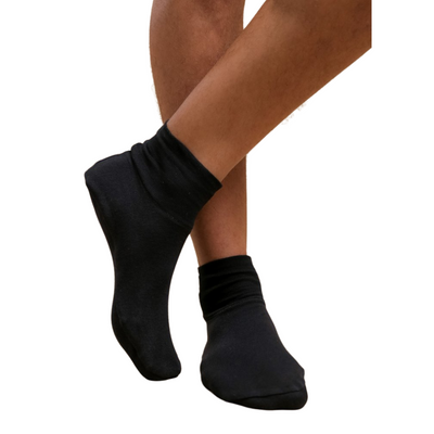 These cotton booties are mid-cut, high ankle style.