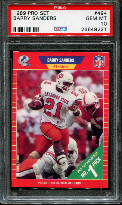 1989 PRO SET #494 BARRY SANDERS RC HEISMAN HOF PSA 10 BULK BUYS LOT OF 10